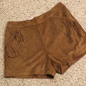 Fringe suede shorts